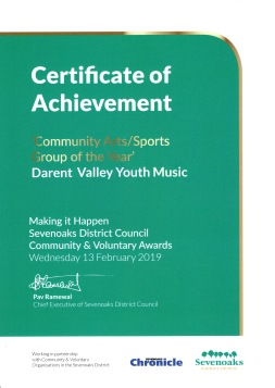 Community Award Certificate 2019